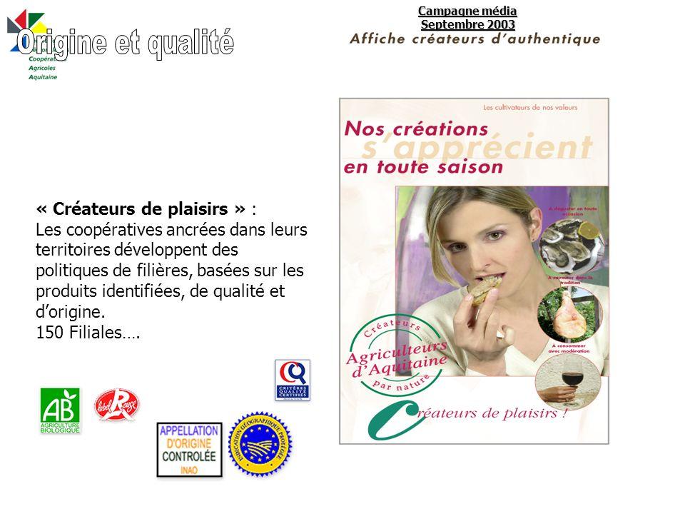 Campagne média Septembre 2003 « Créateurs de plaisirs » : Les coopératives ancrées dans leurs territoires développent des politiques de filières, basées sur les produits identifiées, de qualité et dorigine.