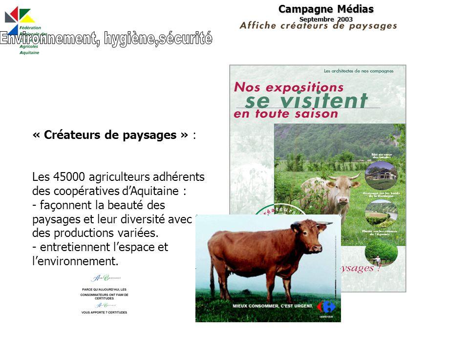 Campagne Médias Septembre 2003 « Créateurs de paysages » : Les 45000 agriculteurs adhérents des coopératives dAquitaine : - façonnent la beauté des paysages et leur diversité avec des productions variées.