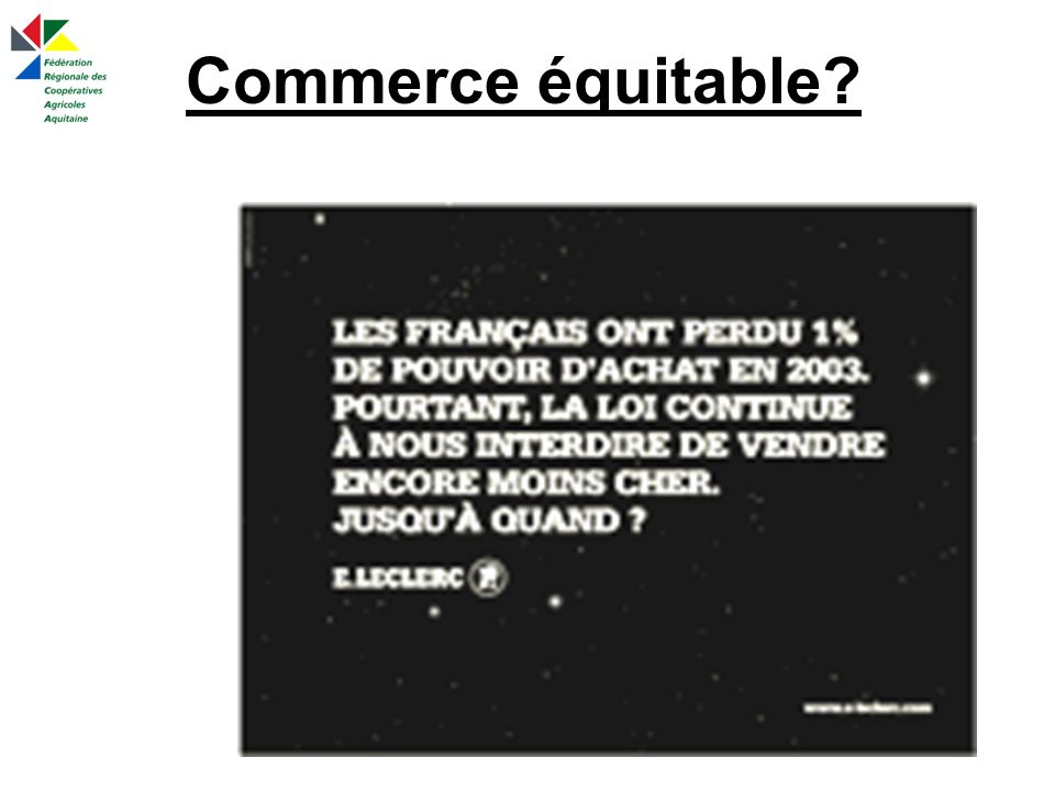 Commerce équitable?