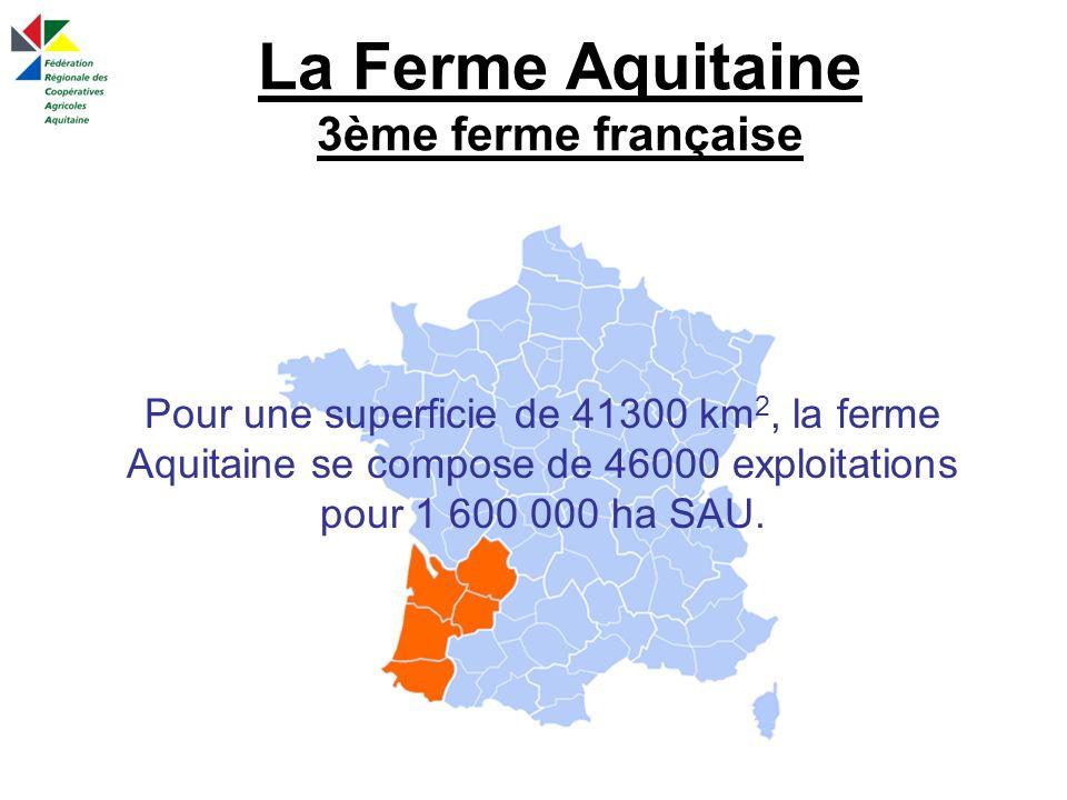 La Ferme Aquitaine 3ème ferme française Pour une superficie de 41300 km 2, la ferme Aquitaine se compose de 46000 exploitations pour 1 600 000 ha SAU.