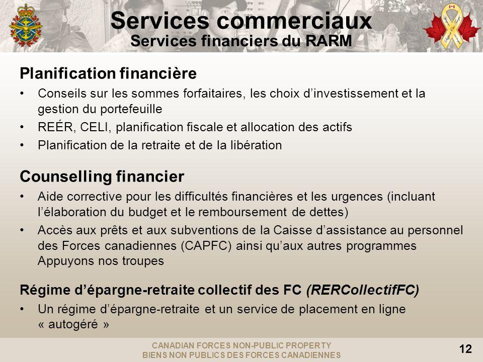 CANADIAN FORCES NON-PUBLIC PROPERTY BIENS NON PUBLICS DES FORCES CANADIENNES 12 Services commerciaux Services financiers du RARM Planification financi