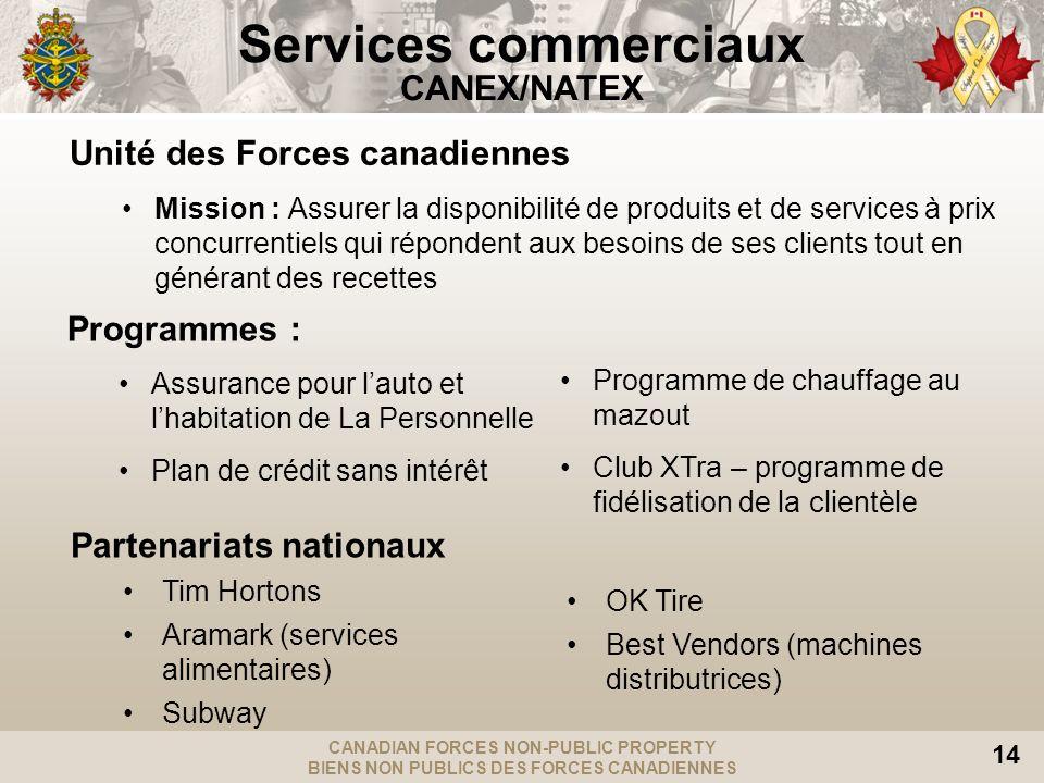 CANADIAN FORCES NON-PUBLIC PROPERTY BIENS NON PUBLICS DES FORCES CANADIENNES 14 Unité des Forces canadiennes Mission : Assurer la disponibilité de pro