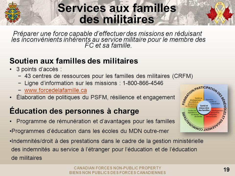 CANADIAN FORCES NON-PUBLIC PROPERTY BIENS NON PUBLICS DES FORCES CANADIENNES 19 Services aux familles des militaires Préparer une force capable deffec
