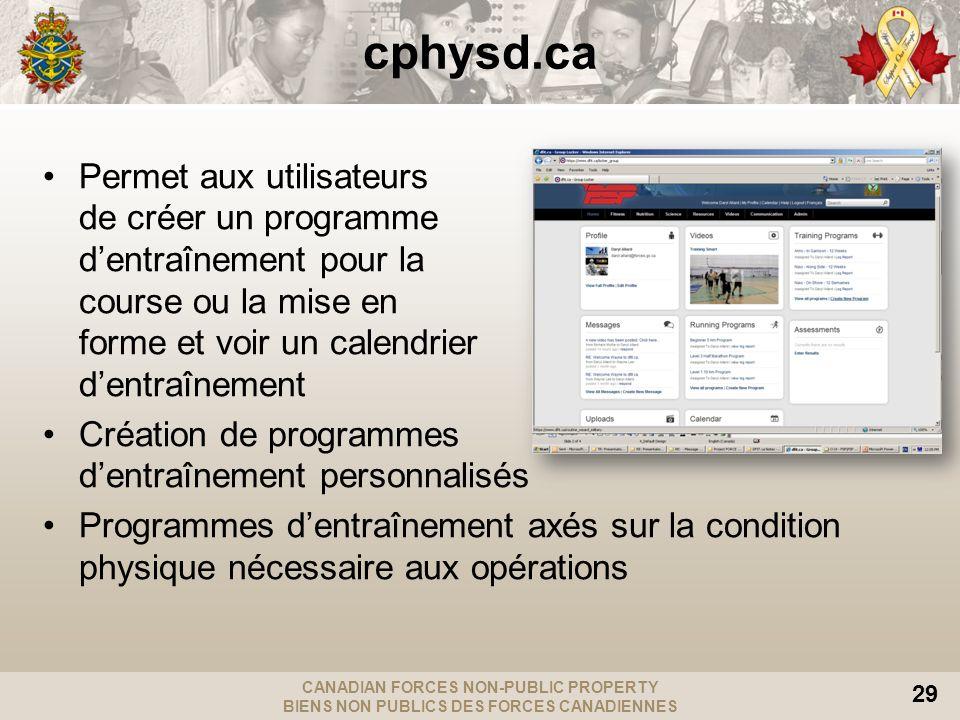 CANADIAN FORCES NON-PUBLIC PROPERTY BIENS NON PUBLICS DES FORCES CANADIENNES 29 cphysd.ca Permet aux utilisateurs de créer un programme dentraînement