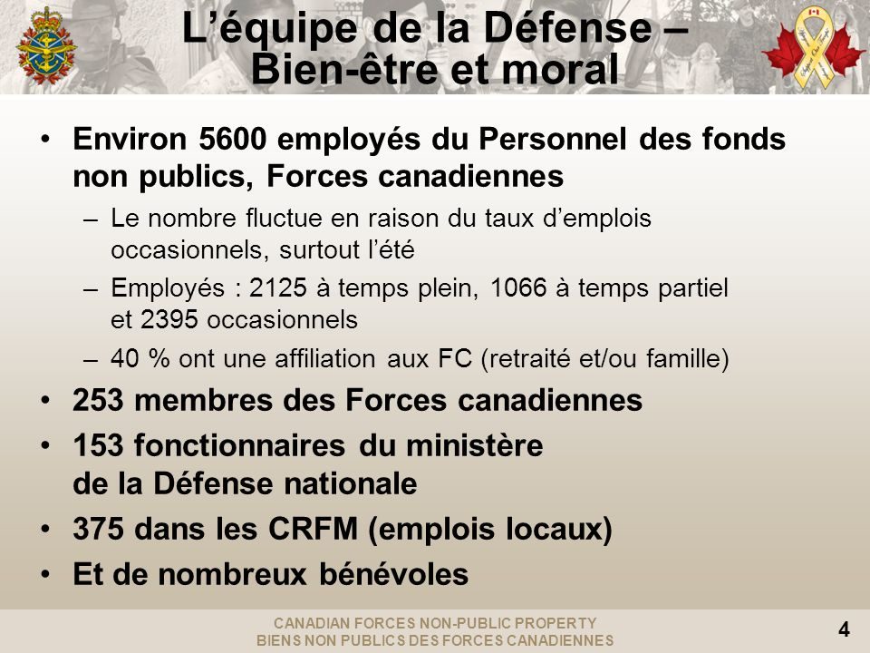 CANADIAN FORCES NON-PUBLIC PROPERTY BIENS NON PUBLICS DES FORCES CANADIENNES 4 Léquipe de la Défense – Bien-être et moral Environ 5600 employés du Personnel des fonds non publics, Forces canadiennes –Le nombre fluctue en raison du taux demplois occasionnels, surtout lété –Employés : 2125 à temps plein, 1066 à temps partiel et 2395 occasionnels –40 % ont une affiliation aux FC (retraité et/ou famille) 253 membres des Forces canadiennes 153 fonctionnaires du ministère de la Défense nationale 375 dans les CRFM (emplois locaux) Et de nombreux bénévoles