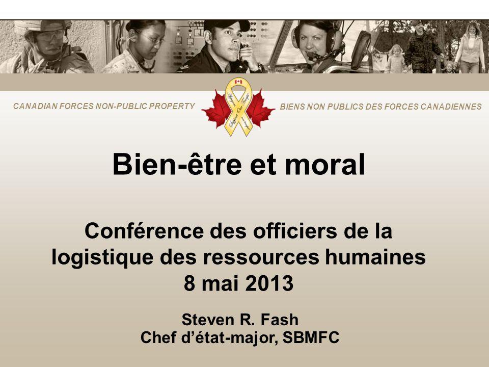 CANADIAN FORCES NON-PUBLIC PROPERTY BIENS NON PUBLICS DES FORCES CANADIENNES Bien-être et moral Conférence des officiers de la logistique des ressources humaines 8 mai 2013 Steven R.
