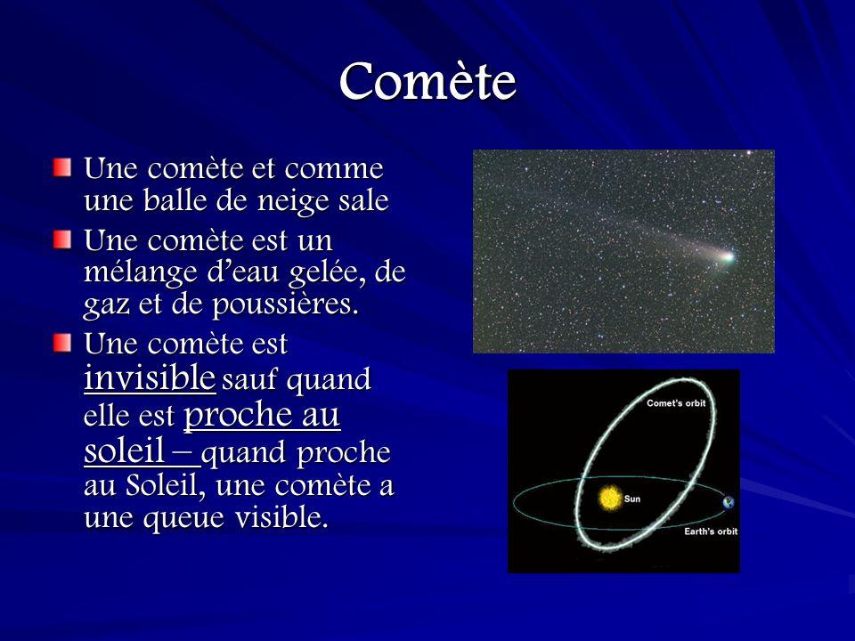 La queue dune comète Lorsquune comète approche le Soleil, une queue, des millions de kilomètres de longueur, devient visible.