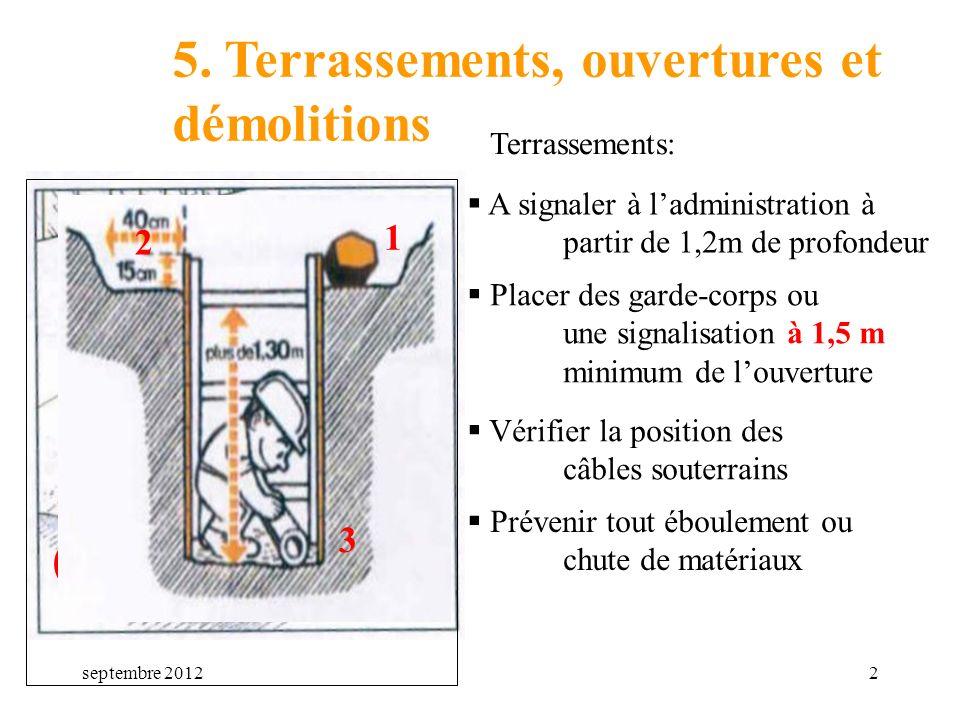 septembre 20122 5. Terrassements, ouvertures et démolitions Terrassements: A signaler à ladministration à partir de 1,2m de profondeur +1m20 Prévenir