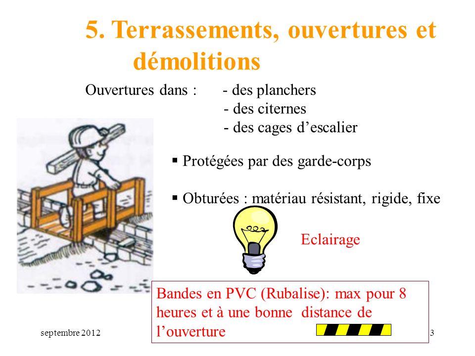 septembre 20123 5. Terrassements, ouvertures et démolitions Ouvertures dans : Protégées par des garde-corps Obturées : matériau résistant, rigide, fix
