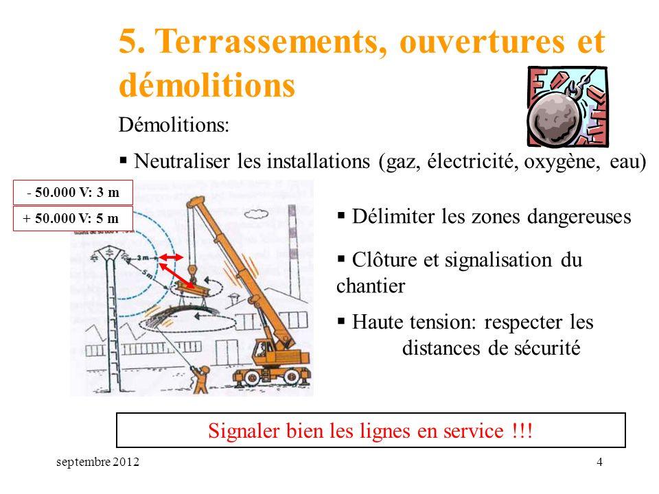 septembre 20124 5. Terrassements, ouvertures et démolitions Démolitions: Neutraliser les installations (gaz, électricité, oxygène, eau) Délimiter les