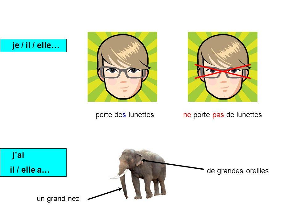 je / il / elle… porte des lunettesne porte pas de lunettes jai il / elle a… un grand nez de grandes oreilles