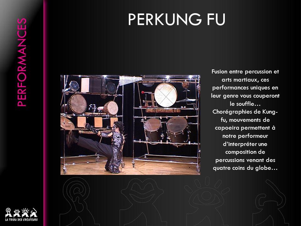 PERKUNG FU Fusion entre percussion et arts martiaux, ces performances uniques en leur genre vous couperont le souffle… Chorégraphies de Kung- fu, mouvements de capoeira permettent à notre performeur dinterpréter une composition de percussions venant des quatre coins du globe…