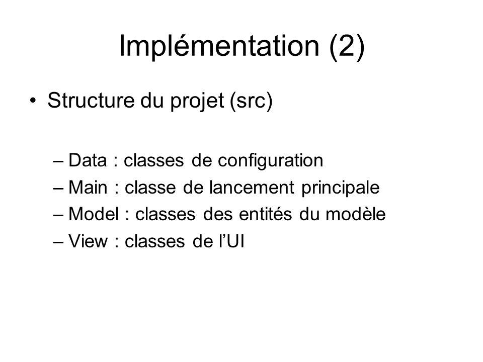Implémentation (2) Structure du projet (src) –Data : classes de configuration –Main : classe de lancement principale –Model : classes des entités du m