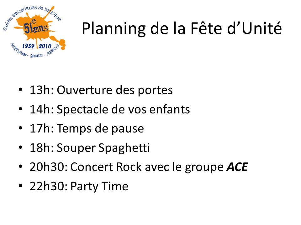 Planning de la Fête dUnité 13h: Ouverture des portes 14h: Spectacle de vos enfants 17h: Temps de pause 18h: Souper Spaghetti 20h30: Concert Rock avec le groupe ACE 22h30: Party Time