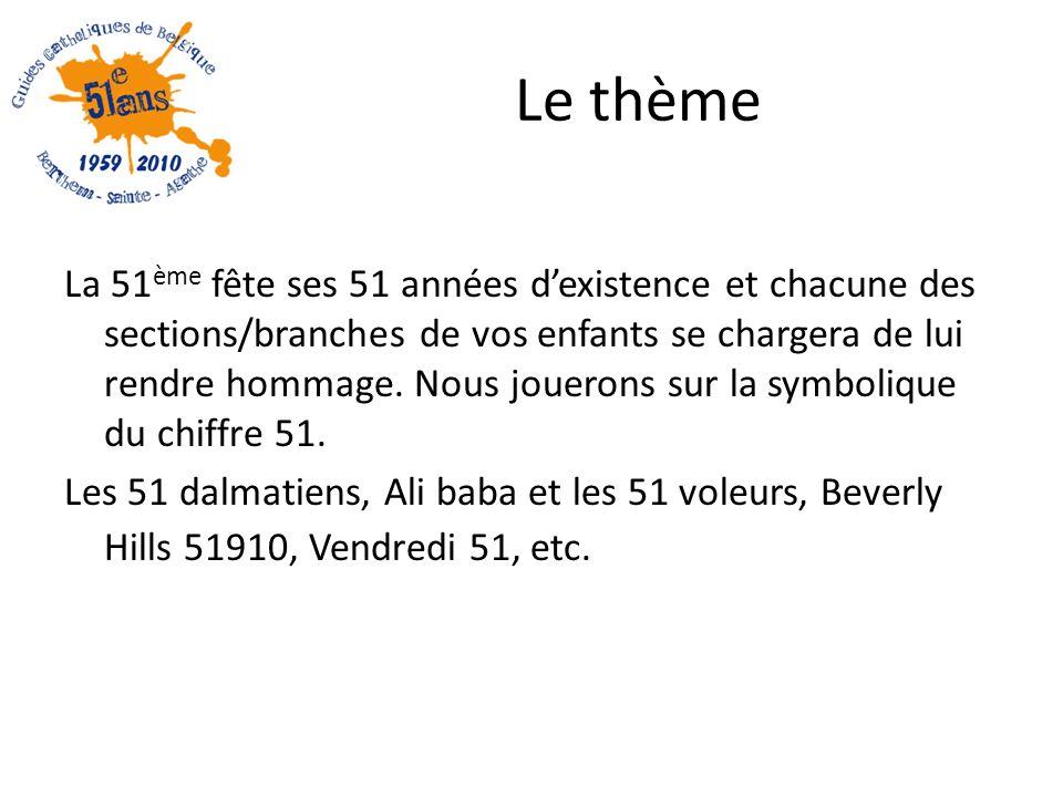Le thème La 51 ème fête ses 51 années dexistence et chacune des sections/branches de vos enfants se chargera de lui rendre hommage.