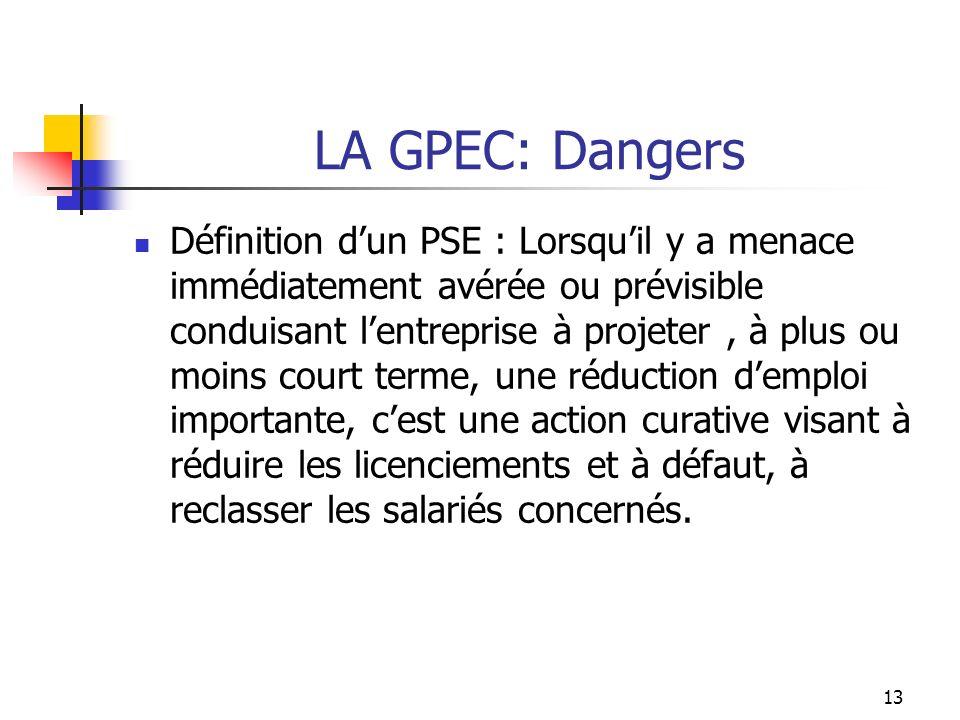 LA GPEC: Avantages et Dangers Lobligation de la mise en place dun accord GPEC officialise une logique danticipation que les entreprises tentaient jusquici de limiter à leur seul avenir économique.