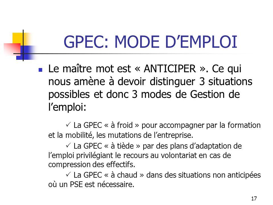 LA GPEC: MODE DEMPLOI Le premier niveau de concertation pourrait être Monde Le deuxième: européen Le troisième: national Le quatrième: local Le cinquième: les filiales Le sixième: les sous-traitants Le septième: Inter entreprises (Renault/Nissan) 16