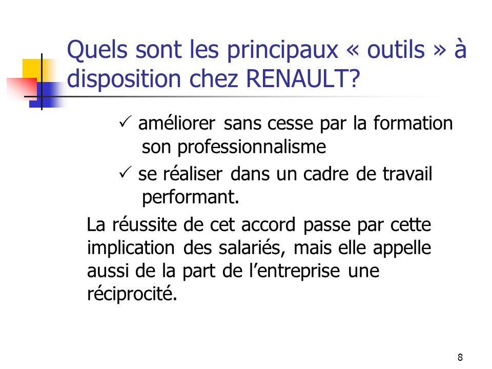 7 Quels sont les principaux « outils » à disposition chez RENAULT.