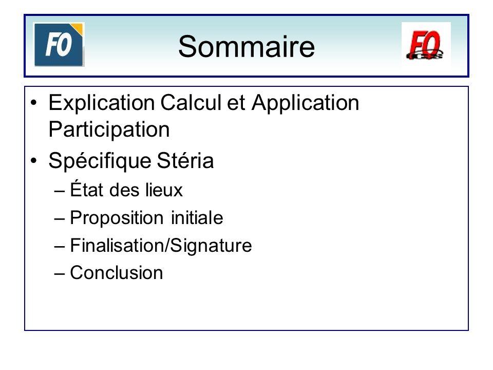 Sommaire Explication Calcul et Application Participation Spécifique Stéria –État des lieux –Proposition initiale –Finalisation/Signature –Conclusion