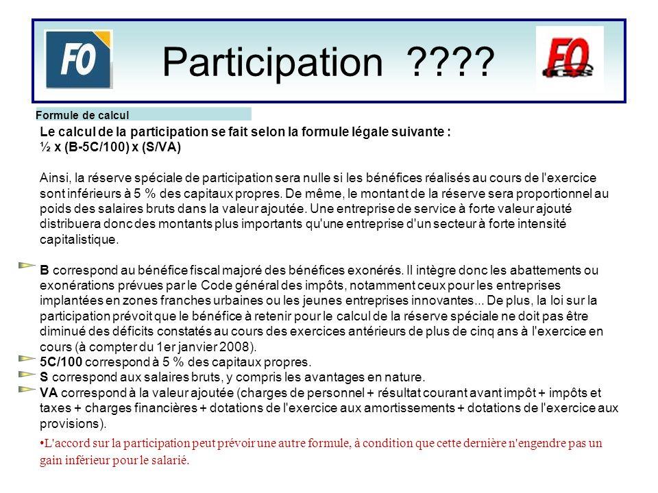 Le calcul de la participation se fait selon la formule légale suivante : ½ x (B-5C/100) x (S/VA) Ainsi, la réserve spéciale de participation sera null