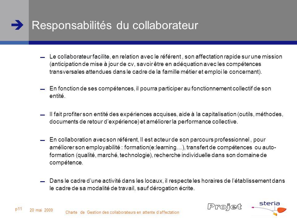 Charte de Gestion des collaborateurs en attente daffectation 20 mai 2009 p11 Responsabilités du collaborateur Le collaborateur facilite, en relation a
