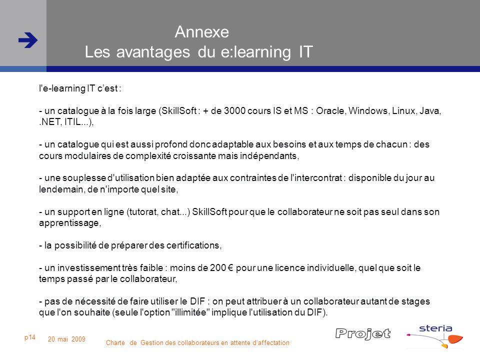 Charte de Gestion des collaborateurs en attente daffectation 20 mai 2009 p14 Annexe Les avantages du e:learning IT l'e-learning IT cest : - un catalog