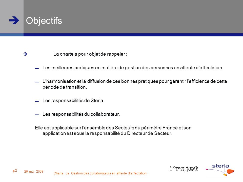 Charte de Gestion des collaborateurs en attente daffectation 20 mai 2009 p2 Objectifs La charte a pour objet de rappeler : Les meilleures pratiques en