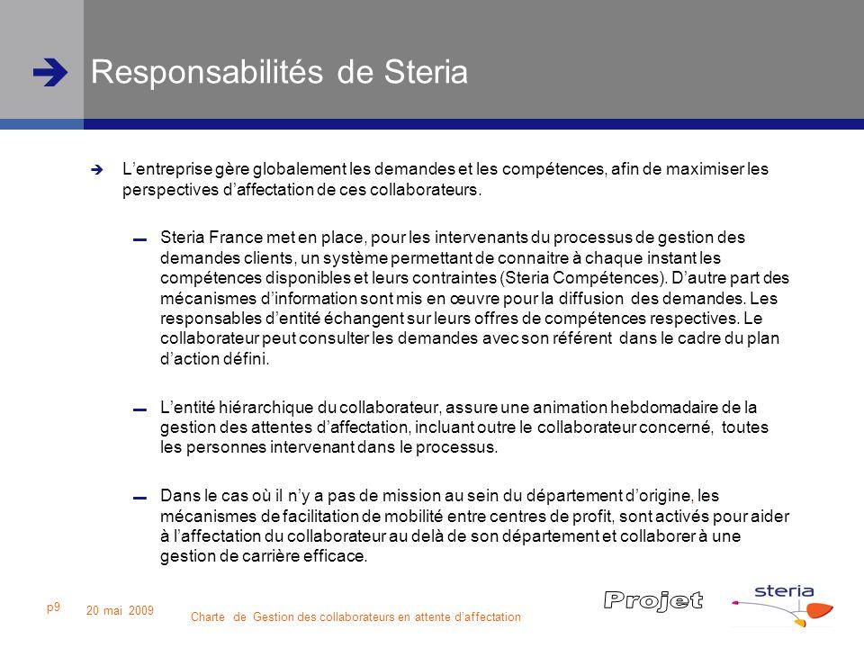 Charte de Gestion des collaborateurs en attente daffectation 20 mai 2009 p9 Responsabilités de Steria Lentreprise gère globalement les demandes et les