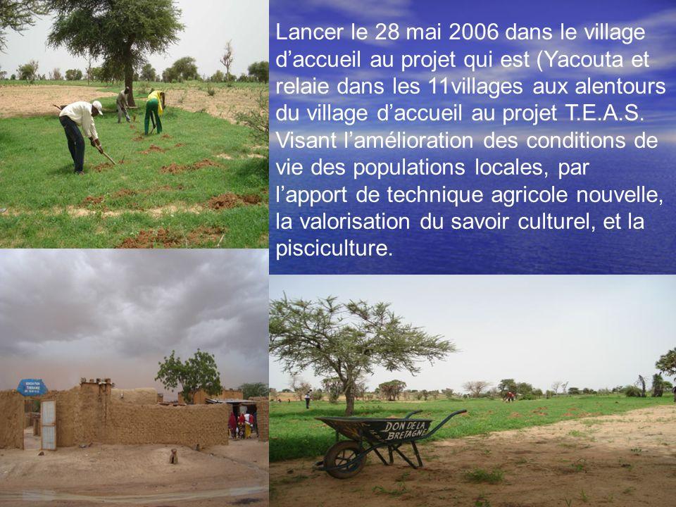 Lancer le 28 mai 2006 dans le village daccueil au projet qui est (Yacouta et relaie dans les 11villages aux alentours du village daccueil au projet T.E.A.S.