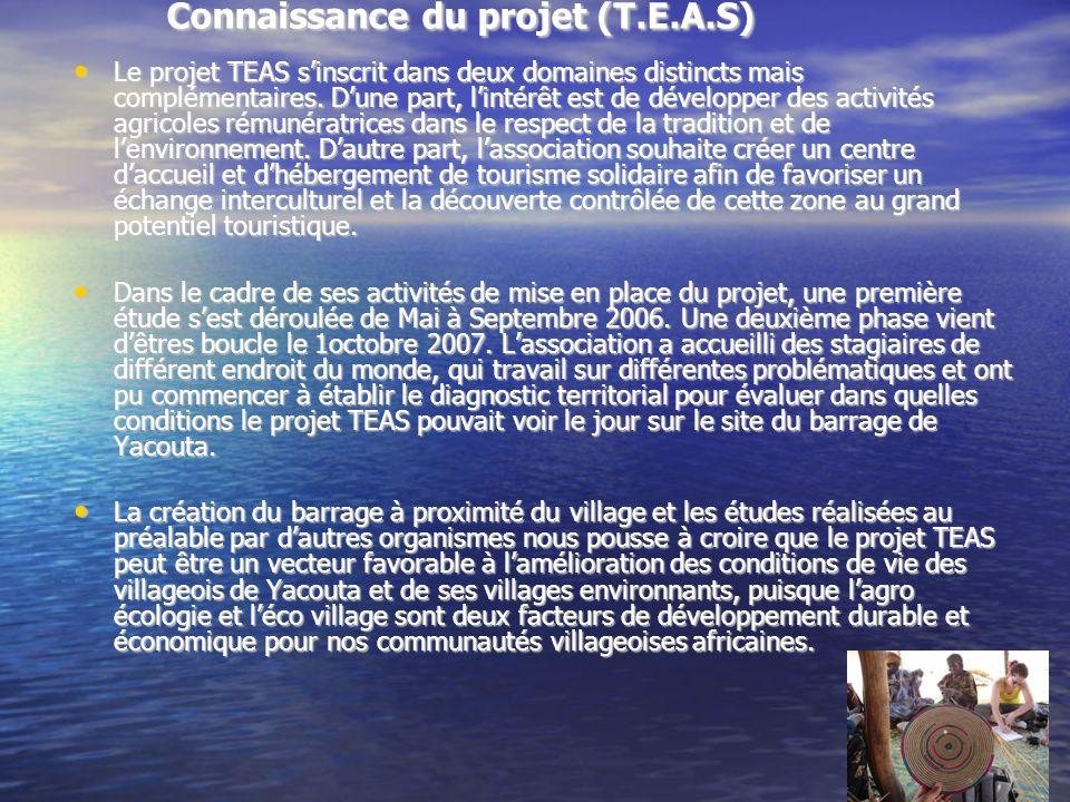 Connaissance du projet (T.E.A.S) Le projet TEAS sinscrit dans deux domaines distincts mais complémentaires.