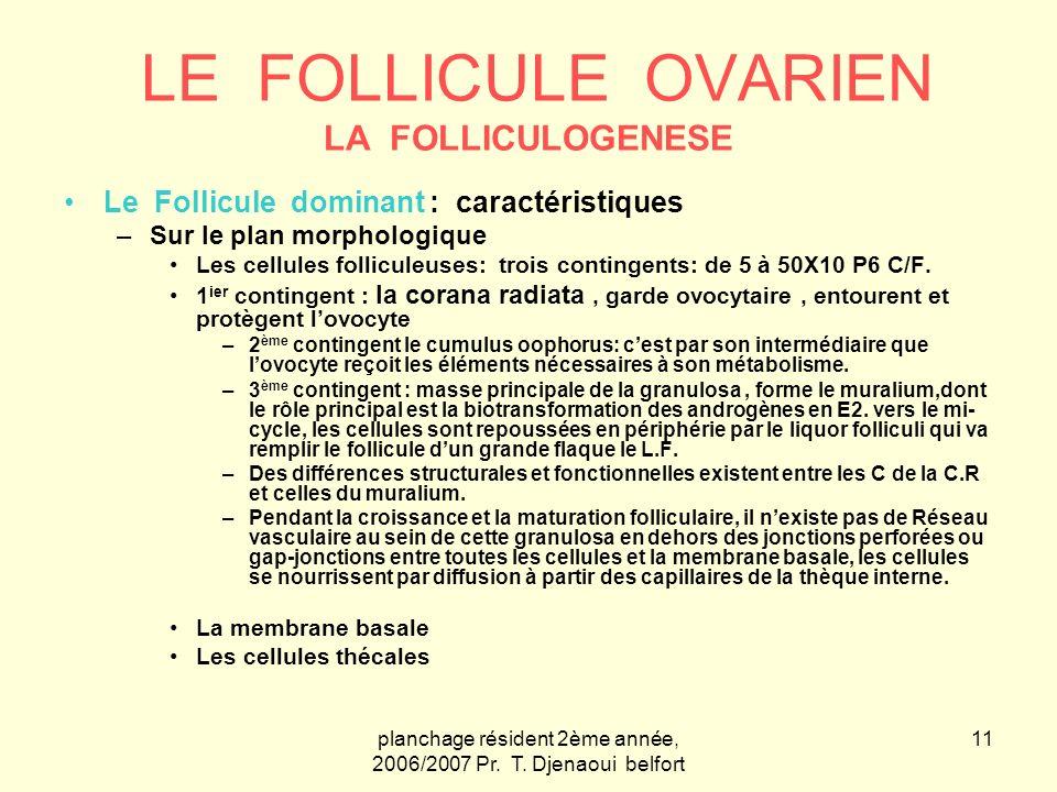 planchage résident 2ème année, 2006/2007 Pr. T. Djenaoui belfort 11 LE FOLLICULE OVARIEN LA FOLLICULOGENESE Le Follicule dominant : caractéristiques –