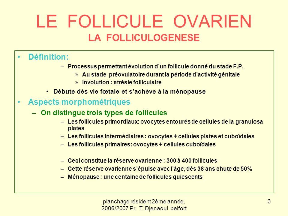 planchage résident 2ème année, 2006/2007 Pr. T. Djenaoui belfort 3 LE FOLLICULE OVARIEN LA FOLLICULOGENESE Définition: –Processus permettant évolution
