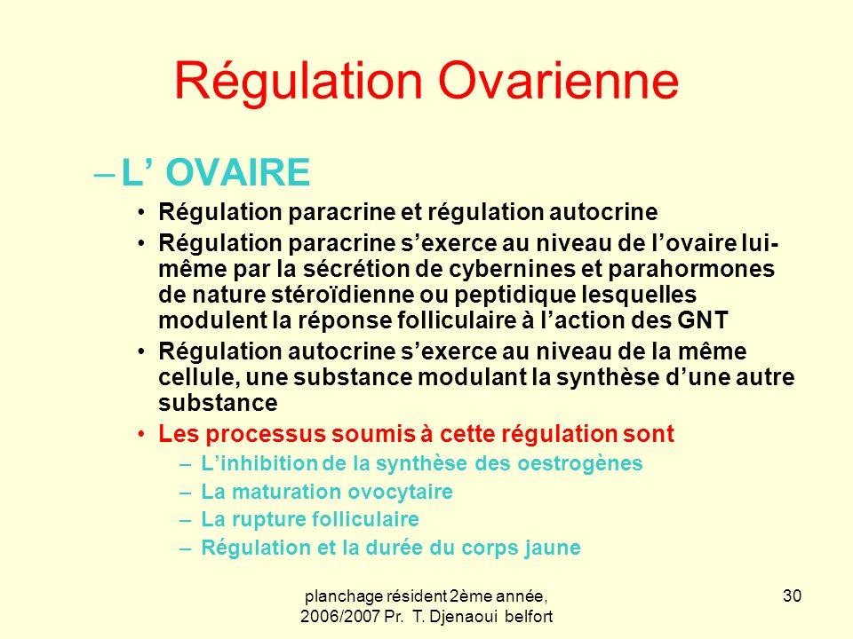 planchage résident 2ème année, 2006/2007 Pr. T. Djenaoui belfort 30 Régulation Ovarienne –L OVAIRE Régulation paracrine et régulation autocrine Régula