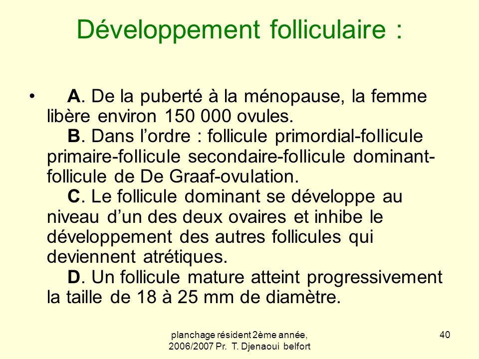 planchage résident 2ème année, 2006/2007 Pr. T. Djenaoui belfort 40 Développement folliculaire : A. De la puberté à la ménopause, la femme libère envi
