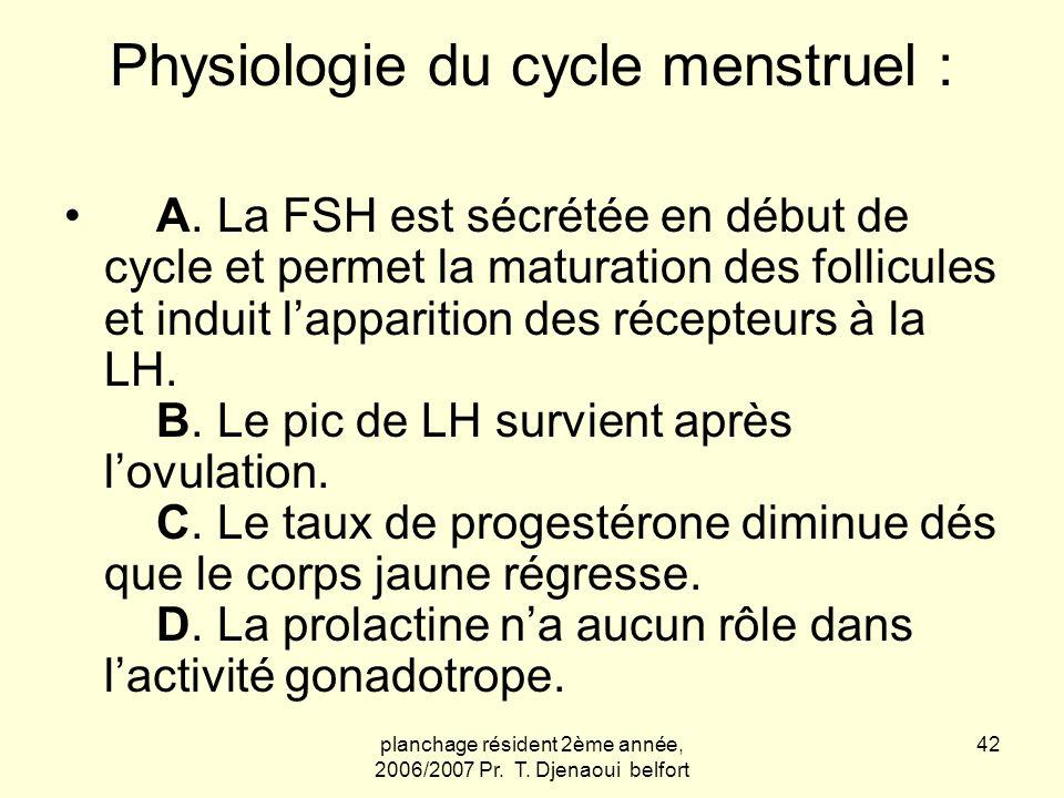 planchage résident 2ème année, 2006/2007 Pr. T. Djenaoui belfort 42 Physiologie du cycle menstruel : A. La FSH est sécrétée en début de cycle et perme