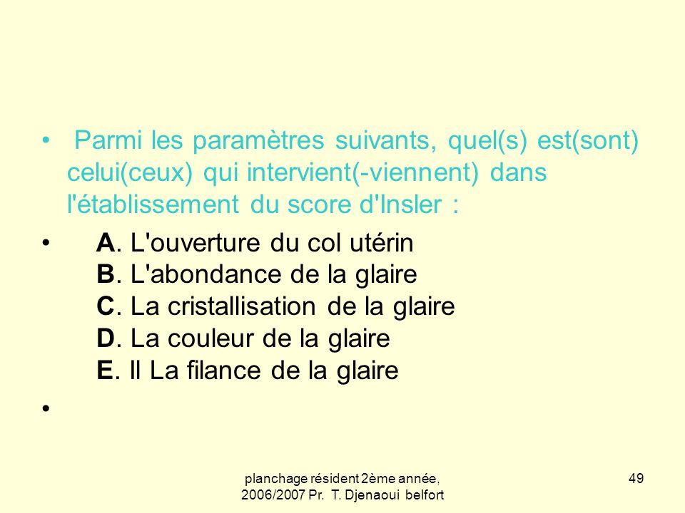 planchage résident 2ème année, 2006/2007 Pr. T. Djenaoui belfort 49 Parmi les paramètres suivants, quel(s) est(sont) celui(ceux) qui intervient(-vienn