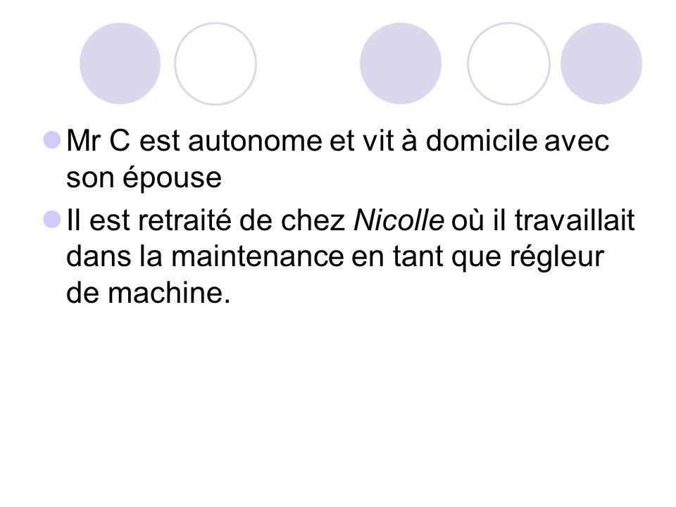 Mr C est autonome et vit à domicile avec son épouse Il est retraité de chez Nicolle où il travaillait dans la maintenance en tant que régleur de machi