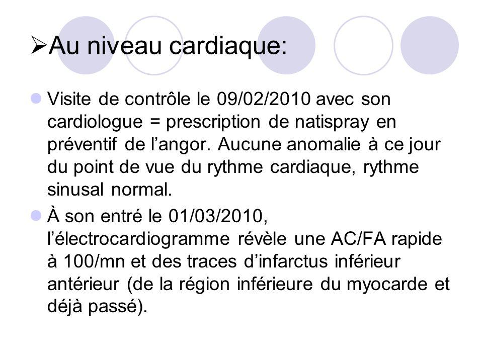 Au niveau cardiaque: Visite de contrôle le 09/02/2010 avec son cardiologue = prescription de natispray en préventif de langor. Aucune anomalie à ce jo