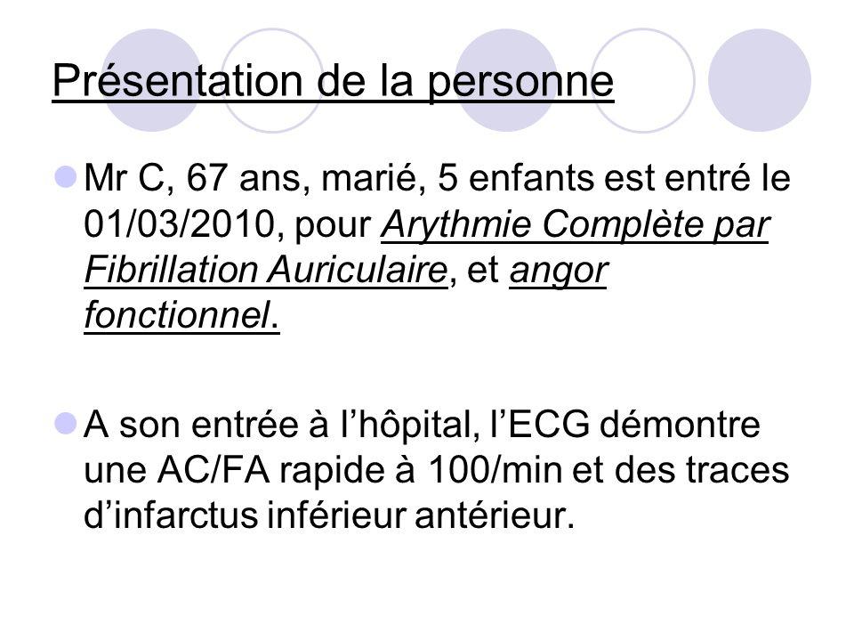 Présentation de la personne Mr C, 67 ans, marié, 5 enfants est entré le 01/03/2010, pour Arythmie Complète par Fibrillation Auriculaire, et angor fonc