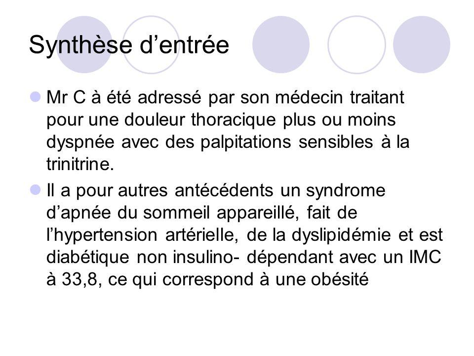 Synthèse dentrée Mr C à été adressé par son médecin traitant pour une douleur thoracique plus ou moins dyspnée avec des palpitations sensibles à la tr