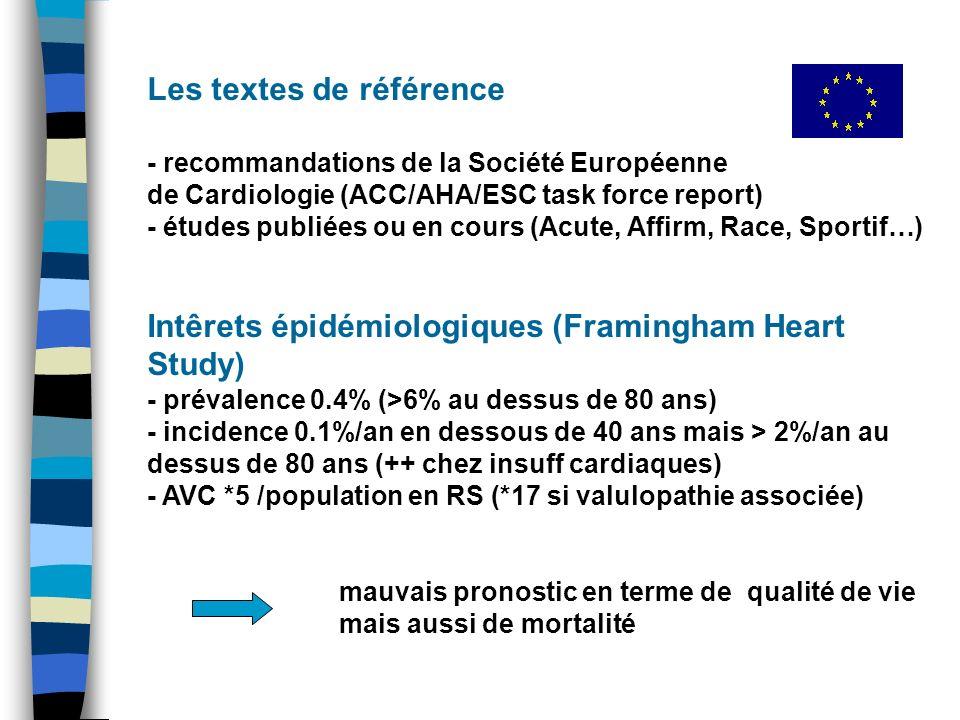 Les textes de référence - recommandations de la Société Européenne de Cardiologie (ACC/AHA/ESC task force report) - études publiées ou en cours (Acute