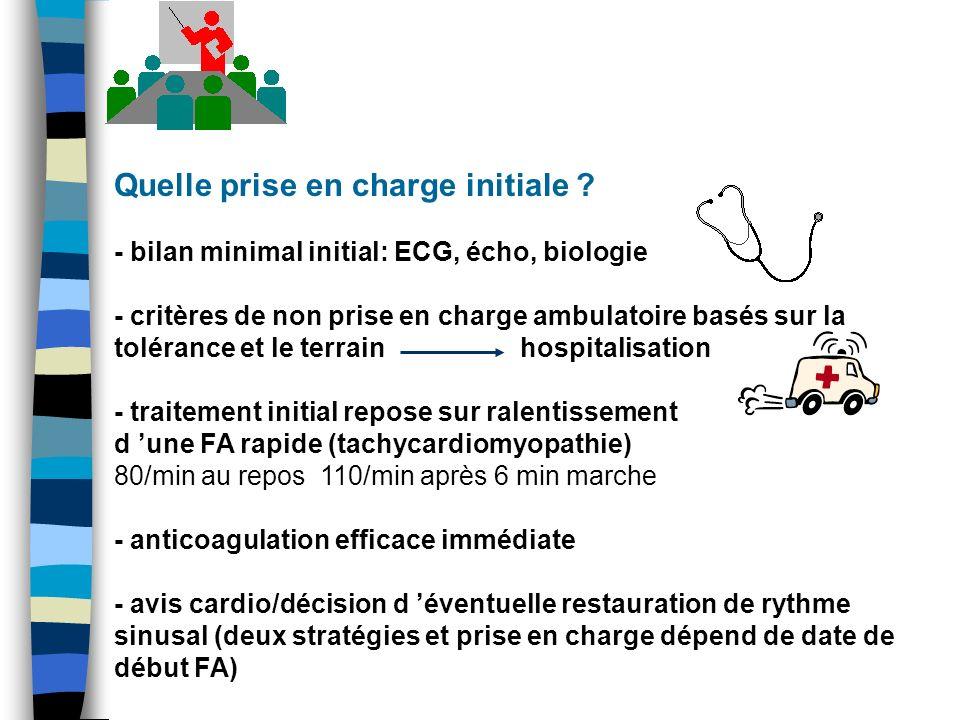 Quelle prise en charge initiale ? - bilan minimal initial: ECG, écho, biologie - critères de non prise en charge ambulatoire basés sur la tolérance et