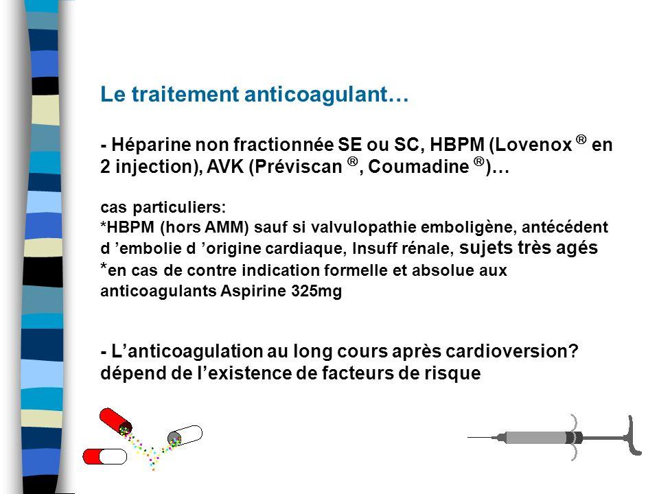 Le traitement anticoagulant…(2) AVC, AIT, embol périphérique HTA Insuff cardiaque >75 ans diabète insuff coro récurrence et facteur de risqueAVK 1 er épisode 2 facteurs de risqueAVK Pas de facteurs de risque sur abstention ou récurrence ou <2 sur 1 er épisode Aspirine 325mg