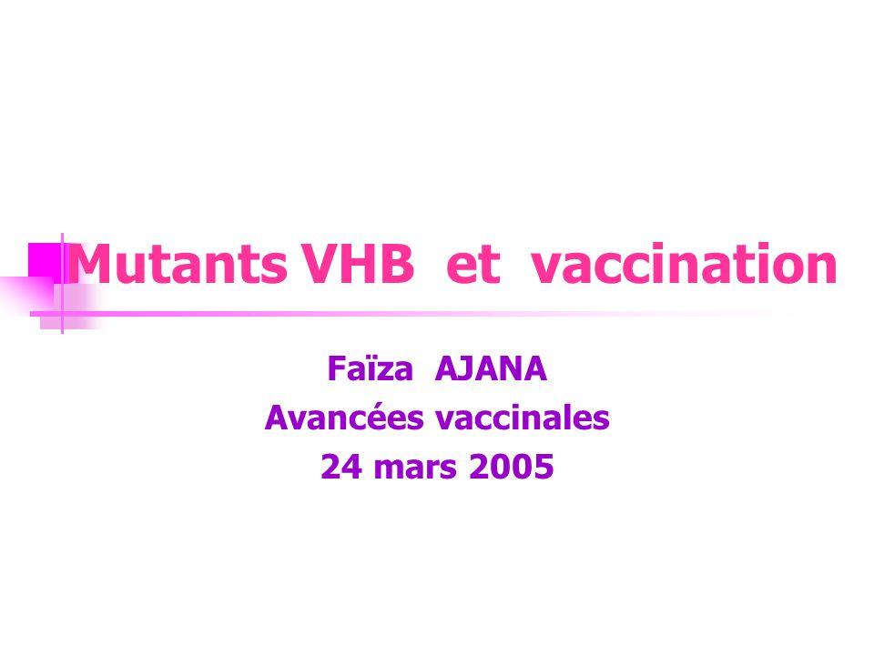 F.AJANA – Avancées Vaccinales 2005 Phénomène déchappement au contrôle immunitaire.