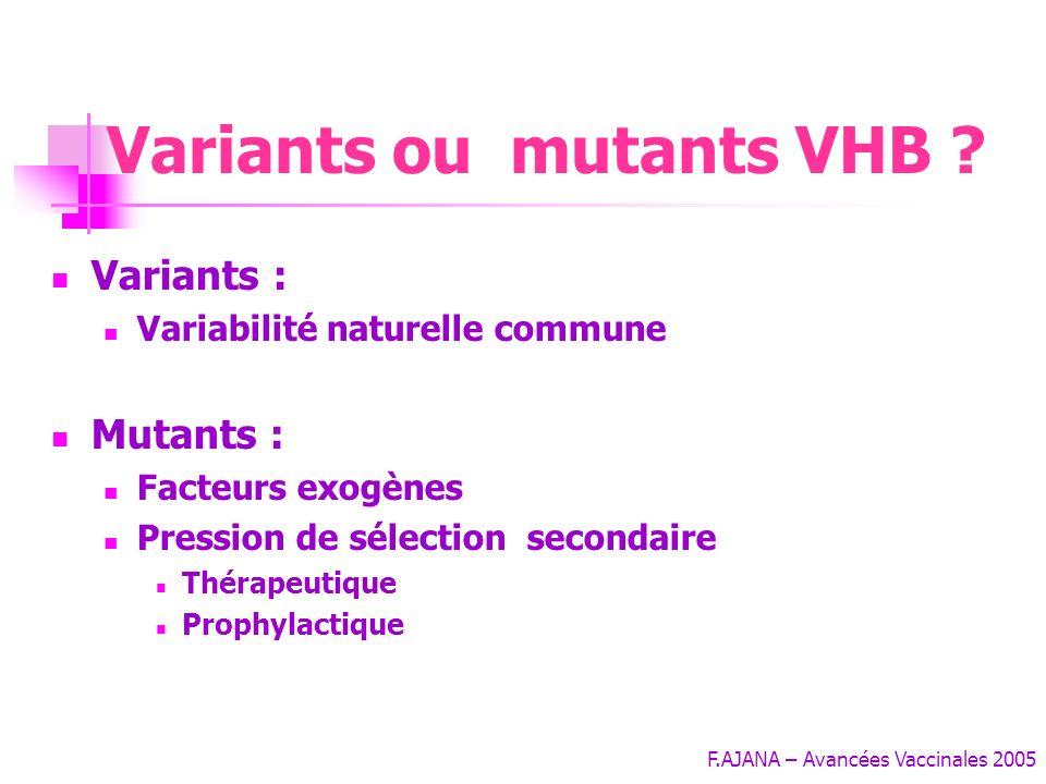 F.AJANA – Avancées Vaccinales 2005 Variants ou mutants VHB .