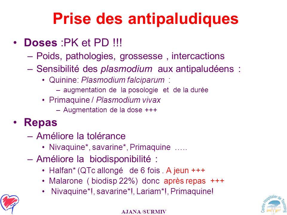 AJANA /SURMIV Prise des antipaludiques Doses :PK et PD !!! –Poids, pathologies, grossesse, intercactions –Sensibilité des plasmodium aux antipaludéens