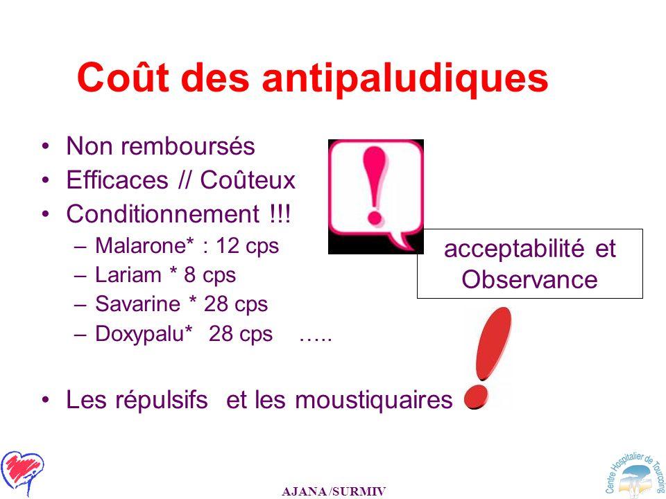AJANA /SURMIV Coût des antipaludiques Non remboursés Efficaces // Coûteux Conditionnement !!! –Malarone* : 12 cps –Lariam * 8 cps –Savarine * 28 cps –