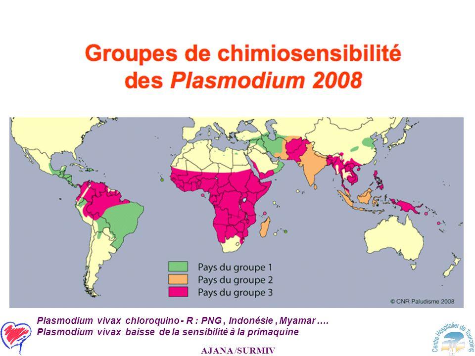 AJANA /SURMIV Plasmodium vivax chloroquino - R : PNG, Indonésie, Myamar …. Plasmodium vivax baisse de la sensibilité à la primaquine