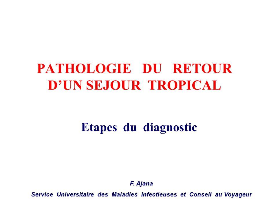 PATHOLOGIE DU RETOUR DUN SEJOUR TROPICAL Etapes du diagnostic F. Ajana Service Universitaire des Maladies Infectieuses et Conseil au Voyageur