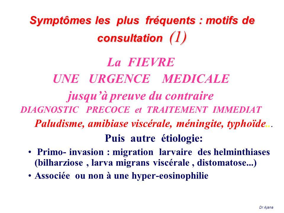 La FIEVRE UNE URGENCE MEDICALE jusquà preuve du contraire DIAGNOSTIC PRECOCE et TRAITEMENT IMMEDIAT Paludisme, amibiase viscérale, méningite, typhoïde